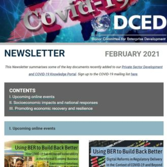 DCED February 2021 Covid Newsletter Cover graphic
